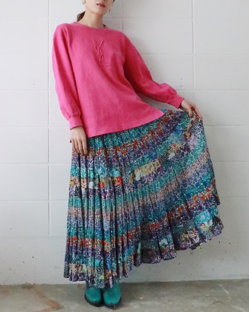 80s floral layered skirt