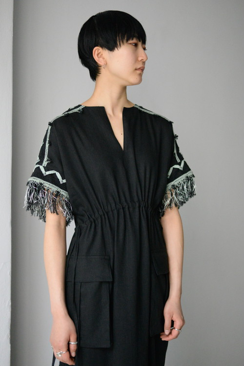 EBONY / Linen Gather Dress (black)