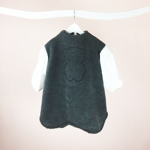 EMBROIDERY BEAR BOA BODY DRESS / WOMEN