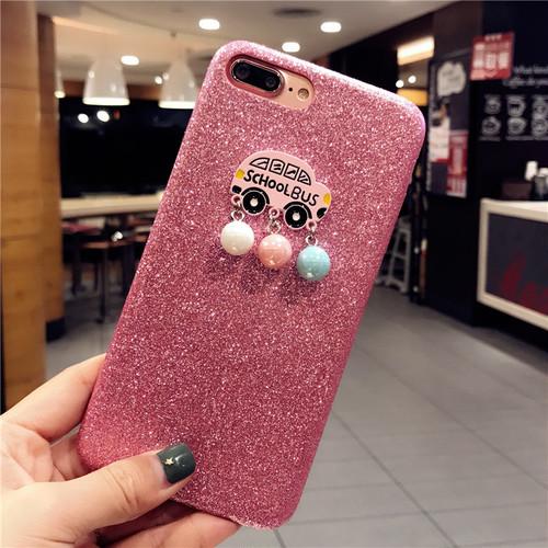 ORIGINAL iphone xケース 個性 オシャレ iphone7 plusケース キラキラ iphone8plusカバー フラッシュパウダー 可愛い SCHOOL BUS 女子愛用 アイフォン携帯カバー