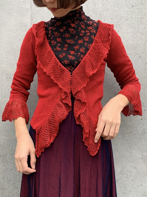 (TOYO) lame design frill cardigan