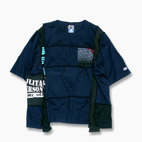 Remake Hand Lock Patching T shirt -Navy #A