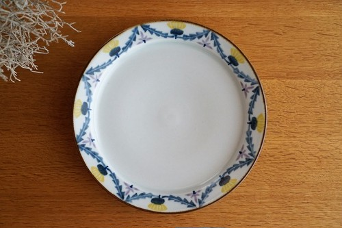 砥部焼/7寸リム付皿/タンポポとレンゲ/皐月窯