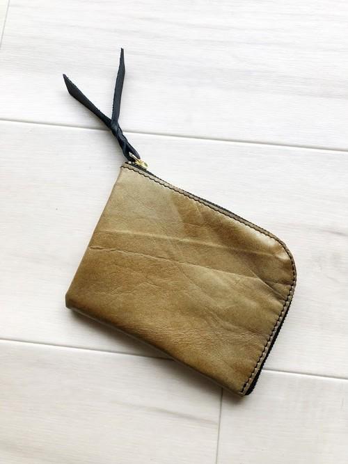 金色ウォレット シン L字財布 カードケース 本革 ダルゴールド