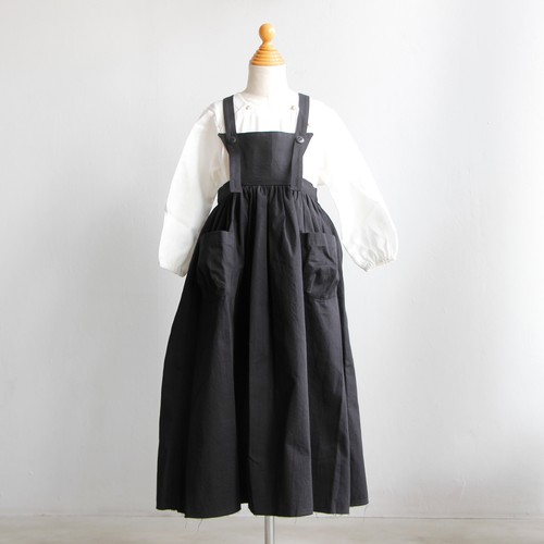 《UNIONINI 2019AW》apron long dress / black / 12-14Y
