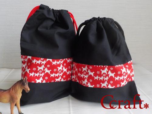 巾着セット(ブラック×レッド)