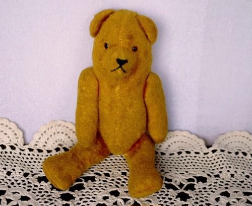 熊のぬいぐるみ ドイツ ヴィンテージテディベア 黄色 アンティークベア ピーナッツベア