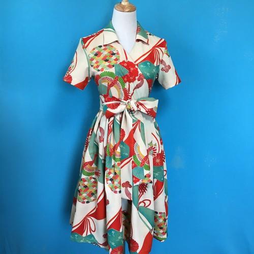 Vintage kimono wrap dress/ US 6 昭和初期