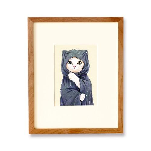レインコートの白猫 原画 / The White Cat in a Raincoat Original Artwork
