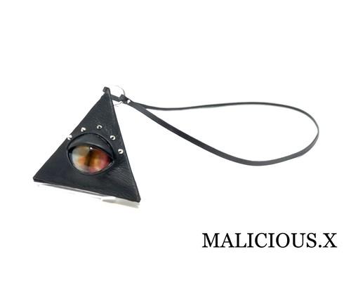 cat eye triangle coin case / rainbow