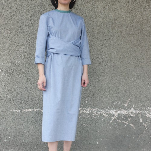Trim neck cotton dress
