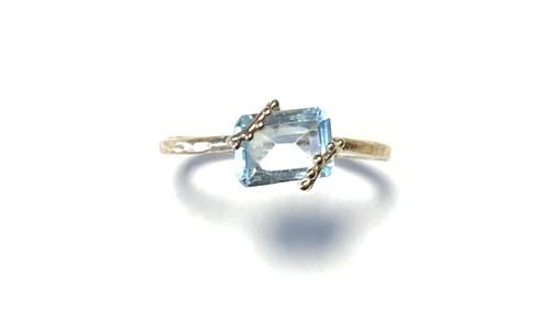 R10-0023-BT 【K10 lace rec blue topaz ring】