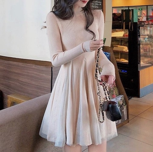 tulle chiffon dress 2color