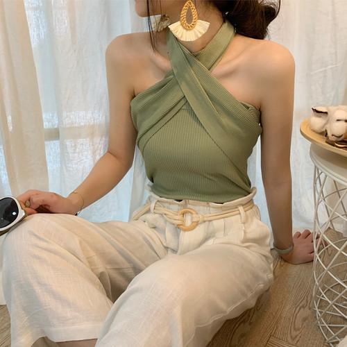 「トップス」ファッション合わせやすいセクシーノースリーブスリムニットカジュアル5色キャミソール