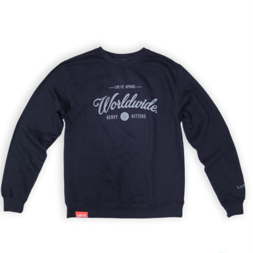 LIVE FIT Worldwide Hitters Crewneck- Navy