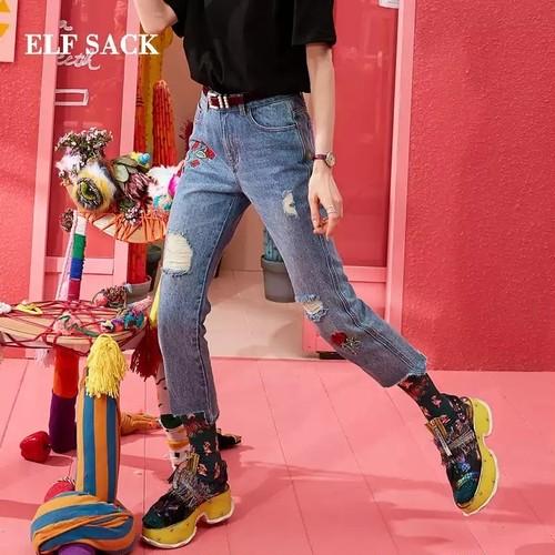 カジュアル女性のジーンズスタイリッシュな刺繍穴女性ズボンミッドウエストストレートデニム足首までの長さファムパンツ