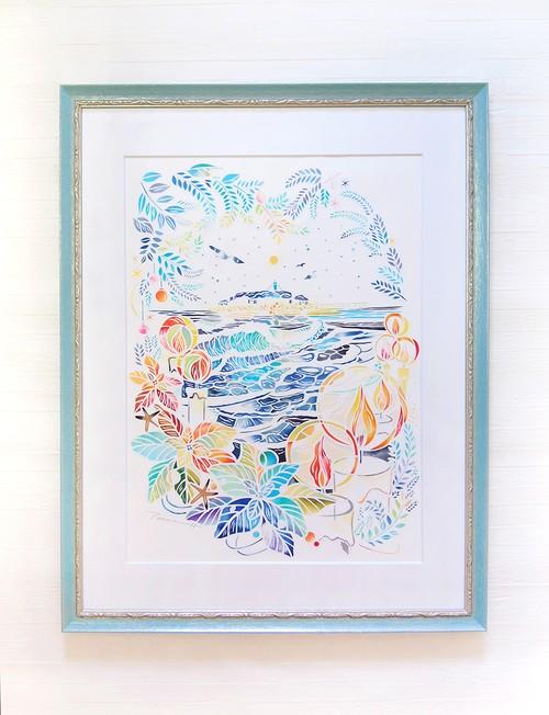 切り絵原画「冬の海の灯火」