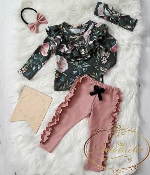 3色展開 バラ ローズ かわいい セットアップ フリル 花柄 長袖