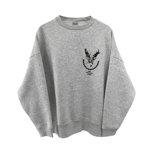 9___89 Deer embroidery sweat Ash x Black