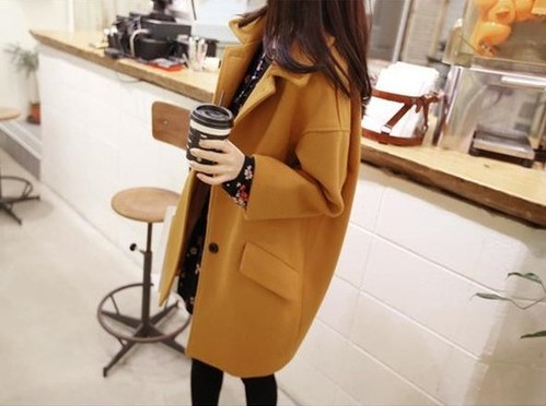 ステンカラー コート レディース アウター ミドル丈 大きいサイズ クラシカル 上品 ボリューム感 厚手 秋冬