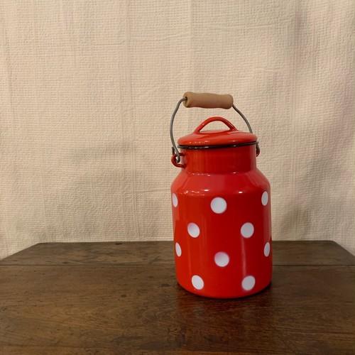 レッド ポルカドット柄 ミルクペイル アンティーク 旧ユーゴスラビア製 ミルク缶