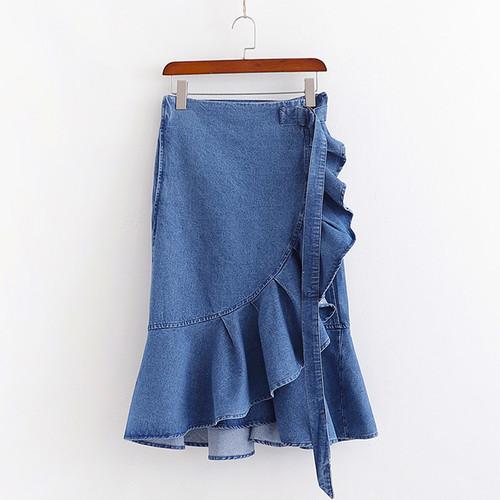 フリルデニムラップスカート