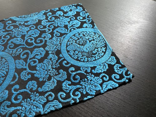 金蘭ポケットチーフ 裲襠模様 青