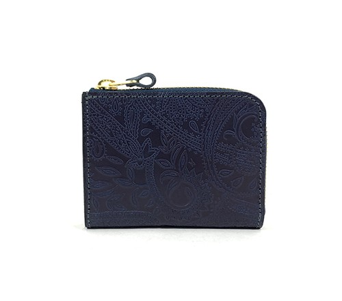 RE.ACT Paisley Indigo L-Fastener Short Wallet