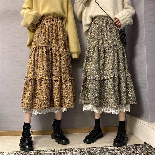 2色/裾レース小花柄スカート ・12668