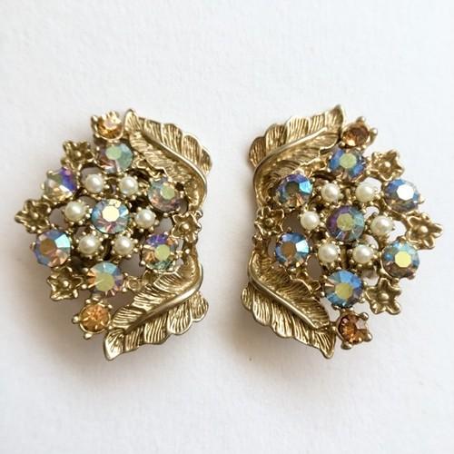 aurora rhinestone & leaf earring[e-660]