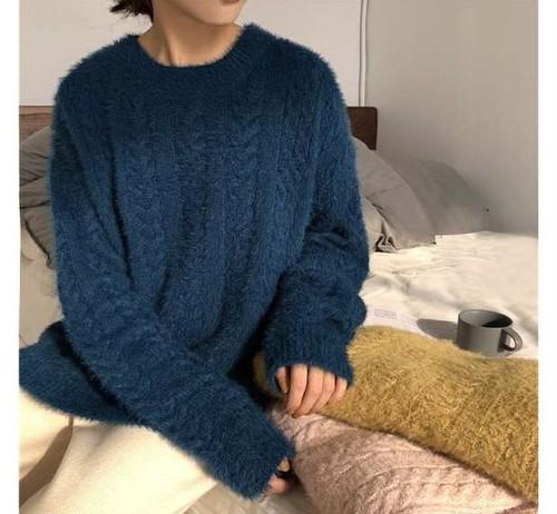 【送料無料】ニット ニットプルオーバー クルーネック モヘア シャギー 女っぽ ゆったり もっちり ケーブル編み 秋冬