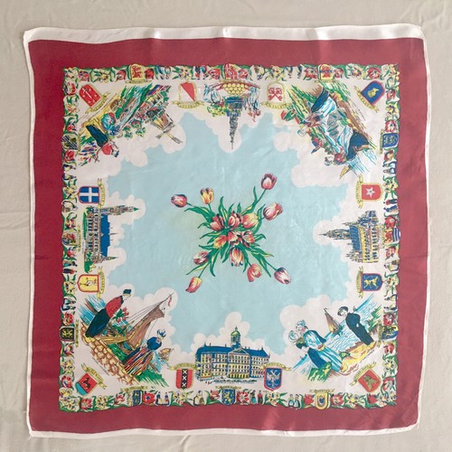 Vintage Scarf  HOLLAND ボルドー①