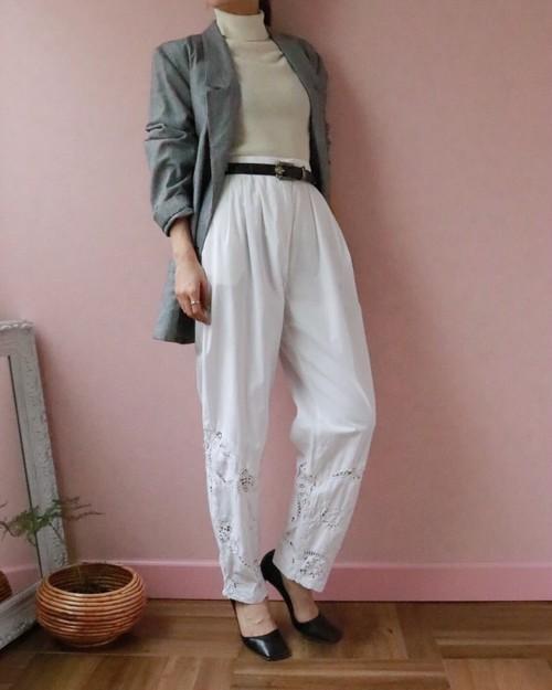 white cotton cutwork pants