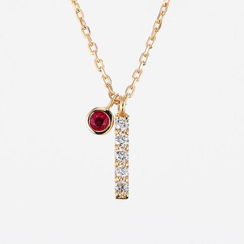 Initial K18YG Diamond【I】Pendant Necklace with Charm (ダイヤモンド イニシャル【I】ペンダントネックレス チャーム付き)