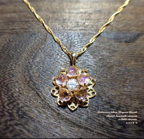 itドラゴンズブレス ltアメジスト色の花のネックレス