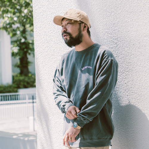 Wheel Logo Garment Dyed Sweat (Wahsed Drak Gray)