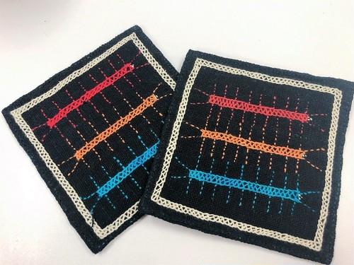 【レンテン族】自然染・手縫いコースター けむし