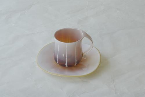 日本製 手づくり 耐熱ガラス カップ&ソーサー クリーム アンバー ストライプ