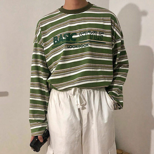 UネックカジュアルストライプTシャツ BL4450