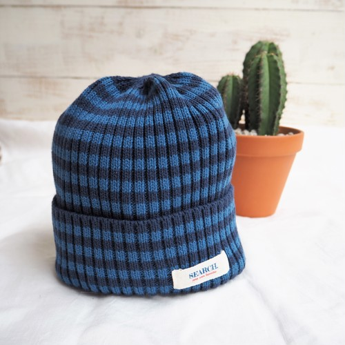 SEARCH. Knit Cap 《BLUE&NAVY》