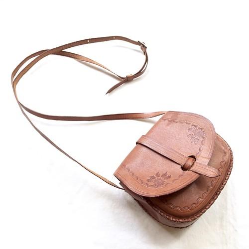 Vintage Brown Leather Mini Shoulder Bag / 型押しレザーミニショルダーバッグ