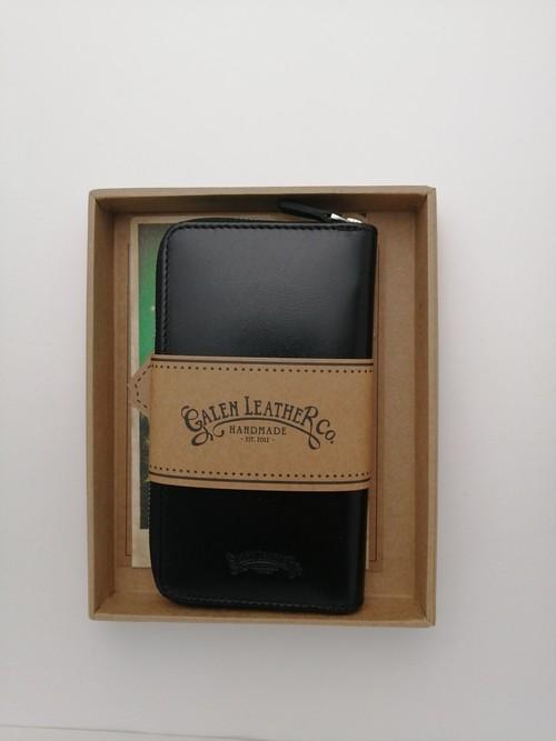 【Galen Leather/ガレンレザー】レザー ジップ3本差しペンケース (ブラック)