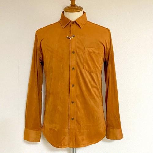 Stretch Fake Suede Shirts Camel