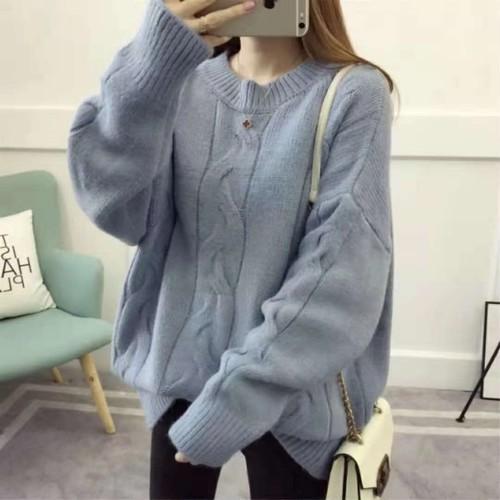 【トップス】優しい雰囲気多色選べラウンドネック長袖無地ニットセーター25367800