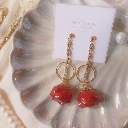 cherry rose & shell hoop ( ピアス・イヤリング )