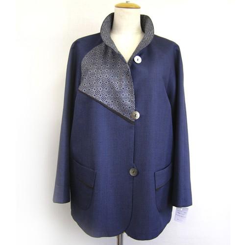 藍大島 ラグランジャケット【ミセス・モトコ】