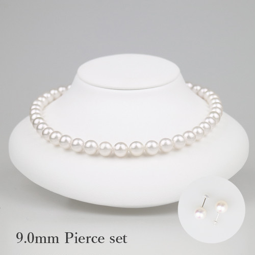白妙90P-set(Shirotae)【Akoya8.5-9.0mm】Necklace & Pierce Set