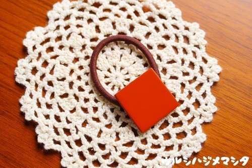 漆のヘアゴム【橙】(四角・大) / Square-shaped hair elastic in orange URUSHI[L]