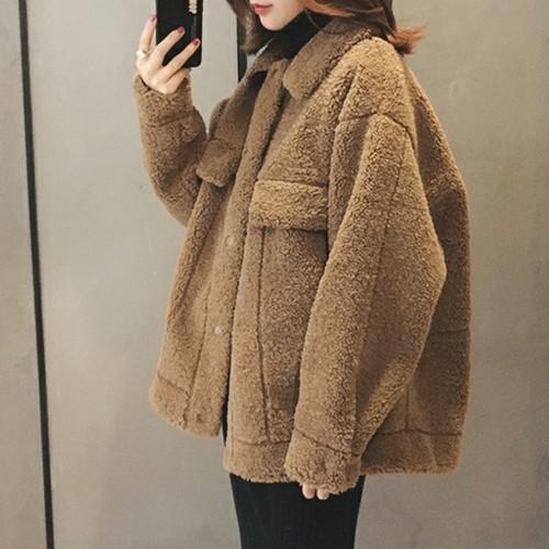 【アウター】シンプルショート丈折り襟シングルブレストジャケット