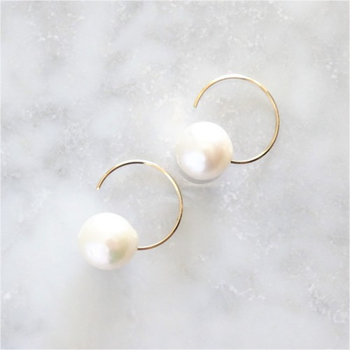14kgf*AAA Big round pearl hook pierced earring パール